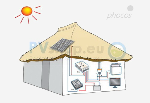 Diagram of PV solar off-grid diagram in PVshop.eu