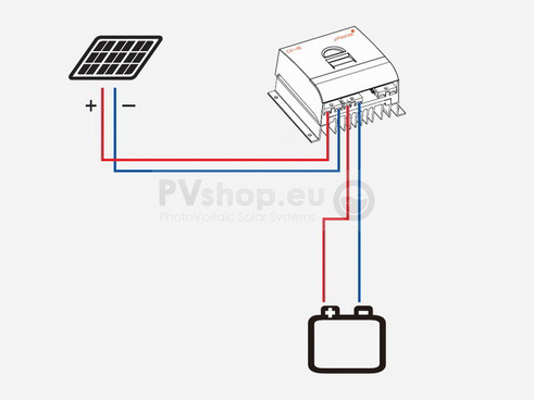 Example: standard PV solar diagram with Phocos PWM charge controller